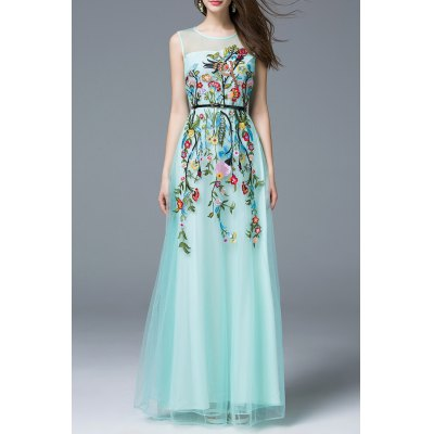Flower Embroidered Maxi Evening Tulle Dress