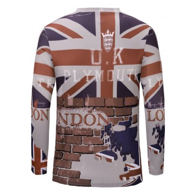 Casual 3D Wall Printed Long Sleeves T-Shirt For Men