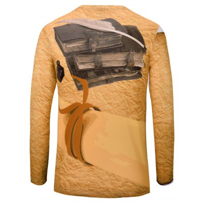 Casual 3D Book Printed Long Sleeves T-Shirt For Men