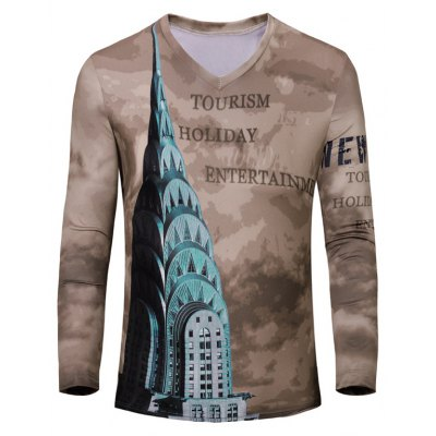 Casual Letters Printing Long Sleeves T-Shirt For Men
