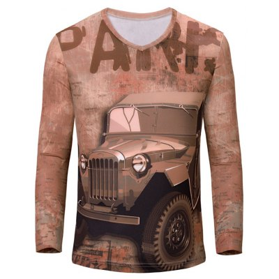 V-Neck 3D Letters and Car Print Color Block Long Sleeve T-Shirt For Men