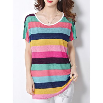 Scoop Neck Colorful Stripe Letter Print Short Sleeve Women's Tee