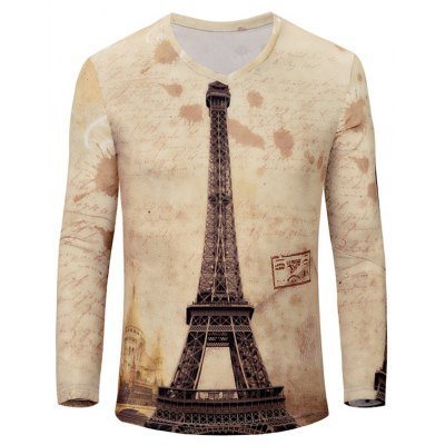 V-Neck Iron Tower Print Color Block Long Sleeve T-Shirt For Men
