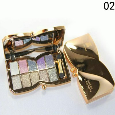 Stylish 10 Colours Sparkly Diamond Eye Shadow Palette with Mirror and Brush