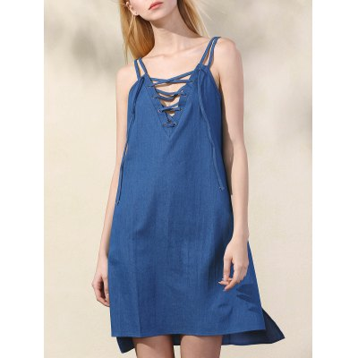 Trendy Spaghetti Straps Lace Up Chambray Dress For Women