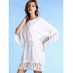 Trendy Round Collar 3/4 Sleeve Tassels Spliced Dress For Women photo