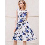 cheap Chic Round Collar Sleeveless Floral Print Slimming Women's Dress