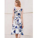 Chic Round Collar Sleeveless Floral Print Slimming Women's Dress for sale