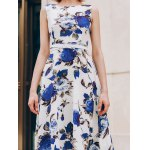 best Chic Round Collar Sleeveless Floral Print Slimming Women's Dress