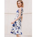 Chic Round Collar Sleeveless Floral Print Slimming Women's Dress deal