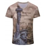 Men's Casual 3D Statue of Liberty Printed Short Sleeves T-Shirt