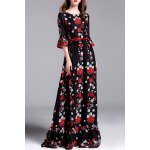 Floral Print Belted Maxi Dress for sale