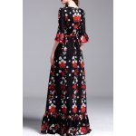 cheap Floral Print Belted Maxi Dress