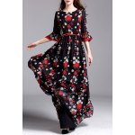 Floral Print Belted Maxi Dress deal