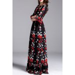 best Floral Print Belted Maxi Dress