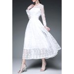 Voile Spliced Solid Color Long Sleeve Dress for sale
