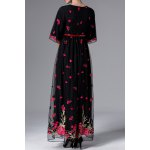 cheap Floral Embroidered Half Sleeve Maxi Dress