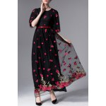 Floral Embroidered Half Sleeve Maxi Dress deal