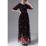Floral Embroidered Half Sleeve Maxi Dress