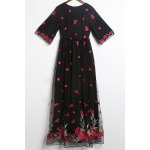 Floral Embroidered Half Sleeve Maxi Dress photo