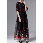 Floral Embroidered Half Sleeve Maxi Dress for sale