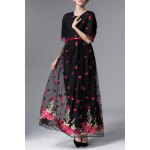 best Floral Embroidered Half Sleeve Maxi Dress