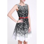 cheap Belted Feather Print Dress