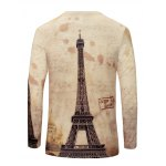 cheap V-Neck Iron Tower Print Color Block Long Sleeve T-Shirt For Men