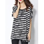 cheap Trendy Scoop Neck Striped Letter Print Short Sleeve Women's Tee