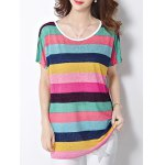 Trendy Scoop Neck Colorful Stripe Letter Print Short Sleeve Women's Tee
