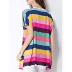 cheap Trendy Scoop Neck Colorful Stripe Letter Print Short Sleeve Women's Tee
