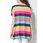 Trendy Scoop Neck Colorful Stripe Letter Print Short Sleeve Women's Tee deal