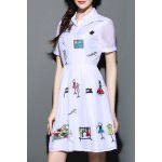 Shirt Collar Cartoon Embroidered Dress for sale