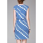 cheap Straight Wrapped Printed Dress