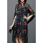 Butterfly Print See-Through Dress with Tank Top deal