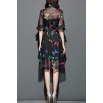 cheap Butterfly Print See-Through Dress with Tank Top