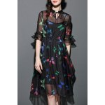 Butterfly Print See-Through Dress with Tank Top