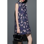 Stand Collar Butterfly Print Denim Dress for sale