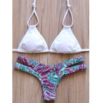 Elegant Halter Tribal Print Hollow Out Bikini Set For Women