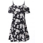 Fashionable Spaghetti Strap Short Sleeve Floral Print Women's Dress