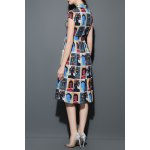 cheap Figure Print Midi Shirt Dress