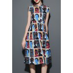 Figure Print Midi Shirt Dress