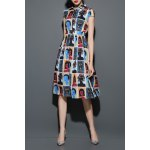 Figure Print Midi Shirt Dress for sale