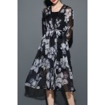 Floral Print Chiffon Cardigan with Cami Dress deal