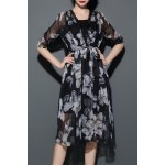 Floral Print Chiffon Cardigan with Cami Dress