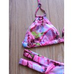 Graceful Halter Hollow Out Abstract Print Bikini Set For Women deal