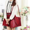 cheap Stylish Solid Colour and Embossing Design Shoulder Bag For Women