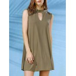 Stylish Mock Neck Solid Color Women's Swing Dress