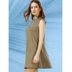 Stylish Mock Neck Solid Color Women's Swing Dress for sale