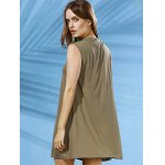 best Stylish Mock Neck Solid Color Women's Swing Dress